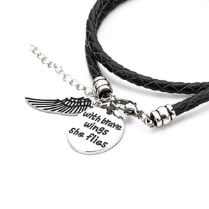 Brave Wings - Hand Stamped Bracelet