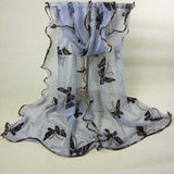 Women Vintage Colorful Lace Gauze Butterfly Veil Scarf Shawl Wrap