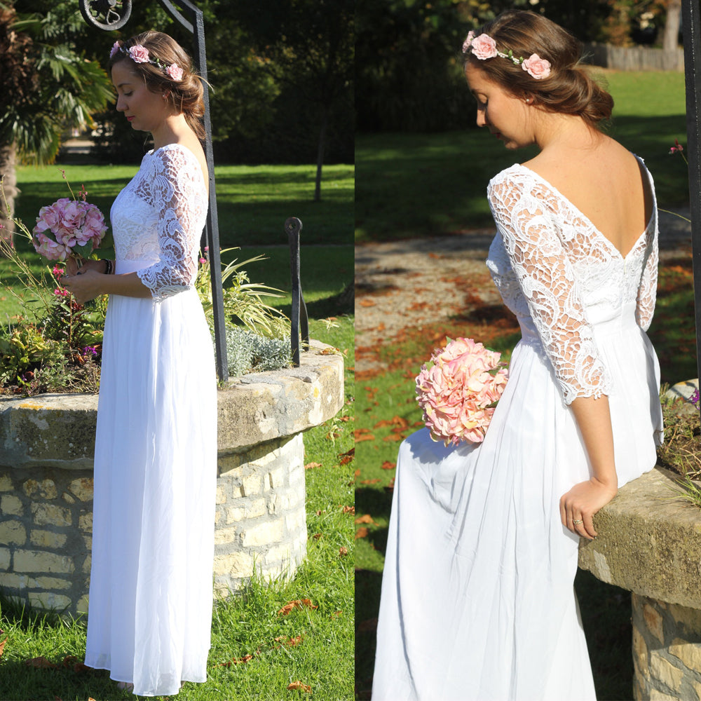 Ever Pretty Vintage A-Line Long Lace Wedding Dress