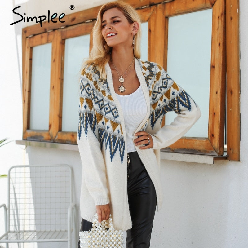 Simplee Fair isle knitted long cardigan