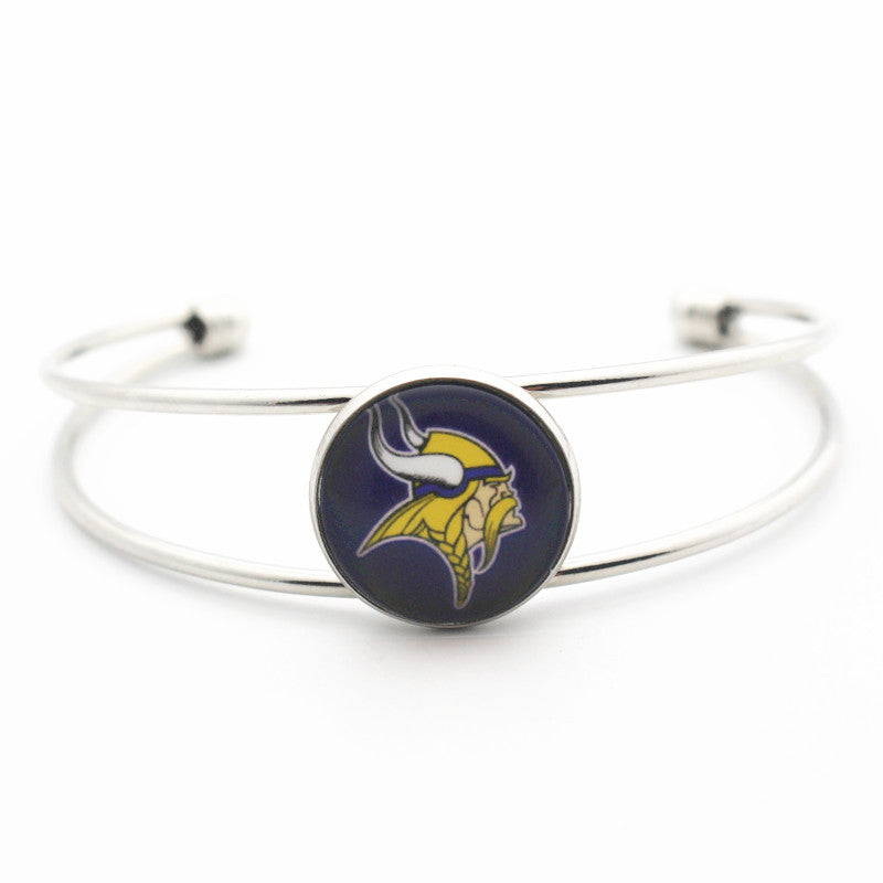 Vikings Glass Print Bangle Bracelet