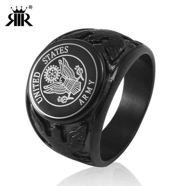 RIR Black USA Military Ring United States MARINE CORPS US ARMY Men Rings In Stainless Steel