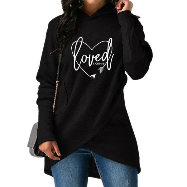 2018 New Fashion Love Print Sweatshirts Femmes Hoodies Tops Clothings Loose Print Street Thick Sweet Pullovers And For Women