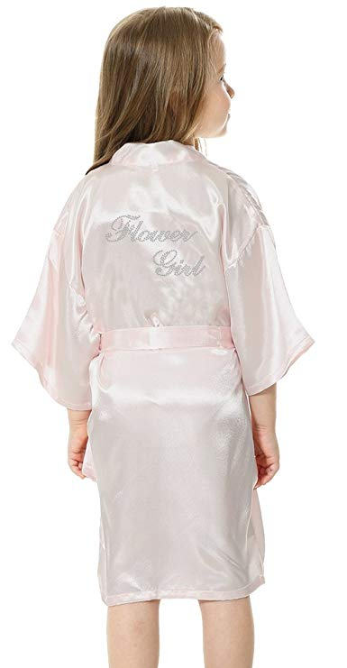 Flower Girl Faux Silk Robe