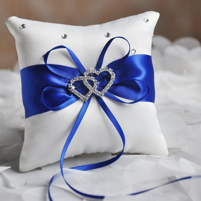 Double Heart Rhinestones Ring Pillow (Assorted Colors)