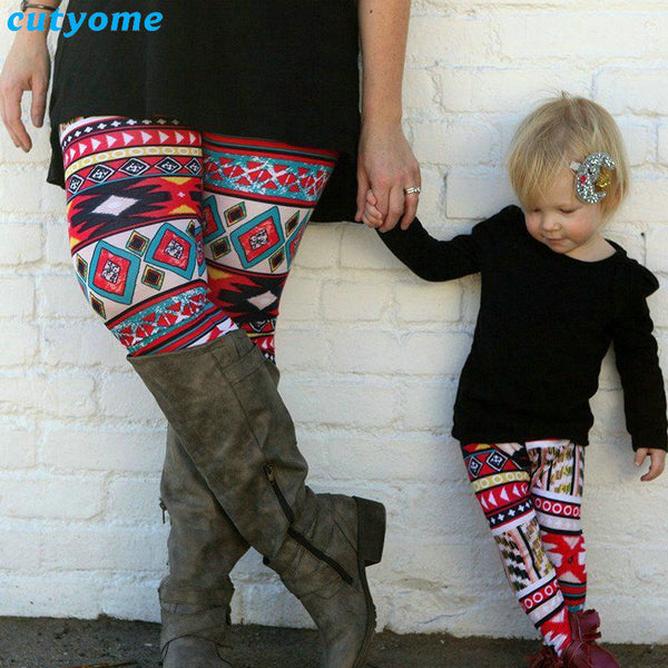 Christmas Leggings 2018 Family Matching Outfits Mother Daughter Leggings Printed Mommy And Me Leggings Kids Parent Child Outfits