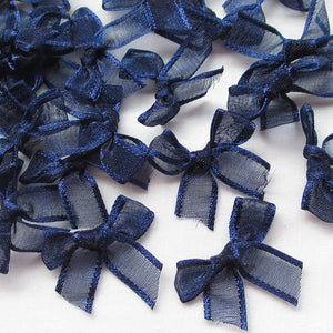 50PCS/lot navy color Organza Ribbon Flowers Bows Wedding Craft Appliques Deco D005406