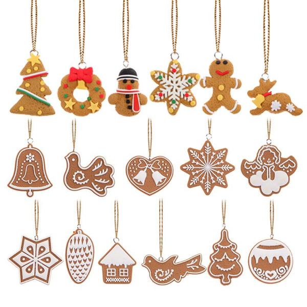 17Pcs Christmas Tree Pendant Animal Snowflake Biscuits Hand Made Polymer Clay Ornament for Christmas Decoration Gifts