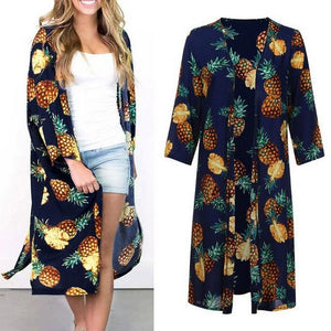 Women Pineapple Printed Kimono Cardigan Caual Beach Sunscreen Open Stitch Blouse Tops Summer Cardigans Femme Blouse