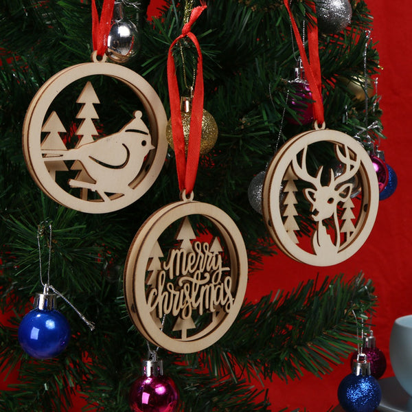 3/6Pcs Wooden Christmas Decoration Merry Christmas Hollow Motif Carve Hanging Ornaments Christmas Decoration for Home