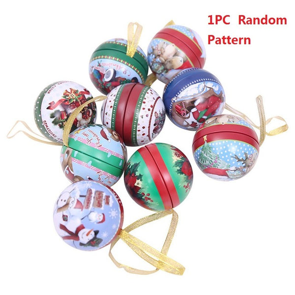 Christmas Santa Claus Snowman Ball Iron Metal Candy Storage Box Candy Gift Box Christmas Decoration Hanging Ornament
