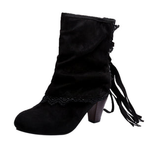 Women's Casual Sexy High Heel Lace Boots