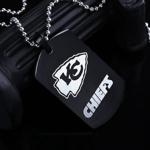 Kansas City Chiefs Necklace Pendants Men Black Stainless Steel Military Army Tags Cards Necklace Male