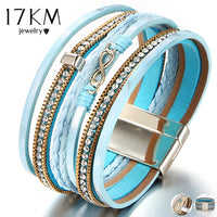 17KM Wide Crystal Leather Bracelet For Women Man Multilayer Infinity Charm Bracelets & Bangles Bohemian Female Party Jewelry Hot