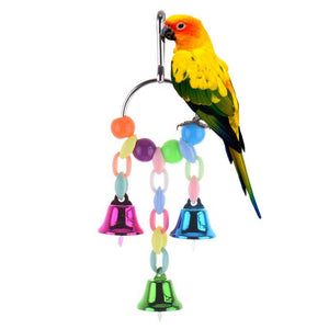 Funny Bird Toys Metal Bell Ring Hanging Chewing Toys For Parrot Squirrel Birds Parakeet Bird Toys Cage Supplies