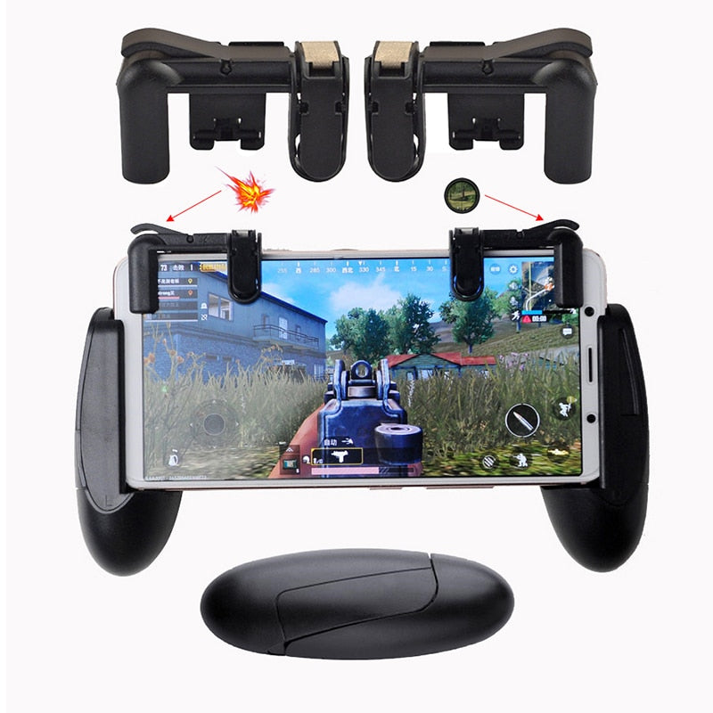PUBG Mobile Game Phone Gamepad Controller Gaming Joystick Aim Key Shooter Trigger Fire Button Game Pad Handle Stand STG FPS