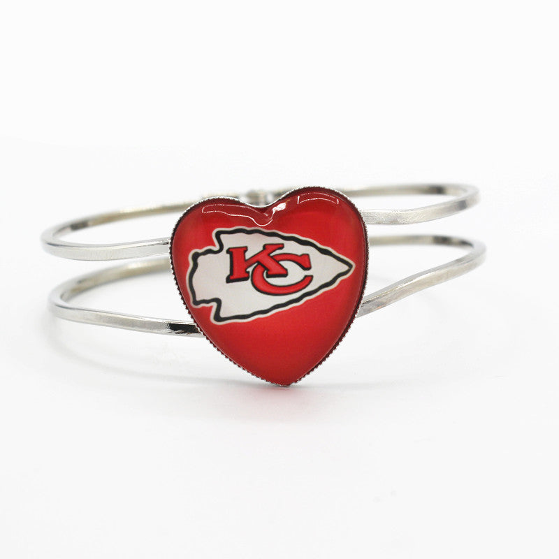 Football Heart Alloy glass Kansas City Chiefs Team Sports Bracelet