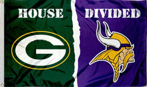 Green Bay Packers Minnesota Vikings House Divided Flag 3x5FT