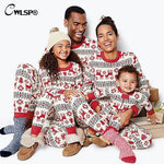 CWLSP Parent-child Christmas Pajama Sets Elk Partter Printed Long Sleeve Tops and Long Pants Autumn Suits Xmas Two Piece Set