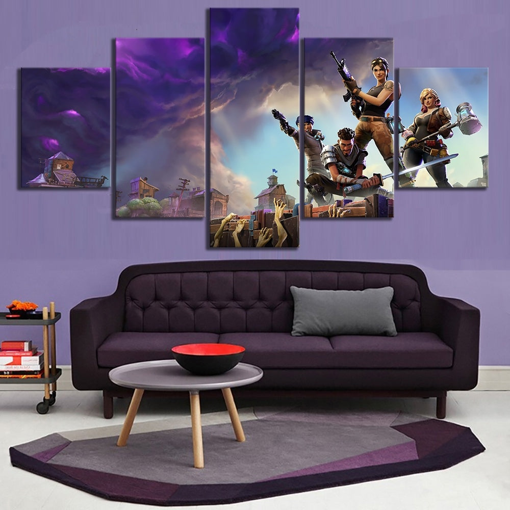 5 Piece Battle Royale Characters Zombies canvas