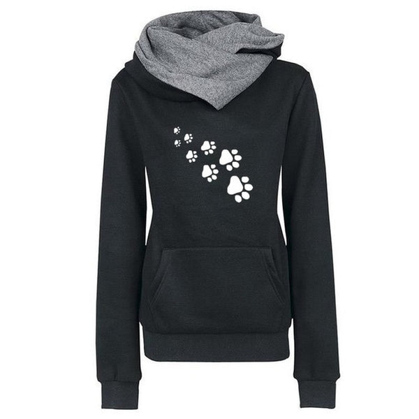 Funny Paw  Print Sweatshirts Hoodies Women Tops Pockets  Cotton Female Cropped Street Thick Winter Or Sping