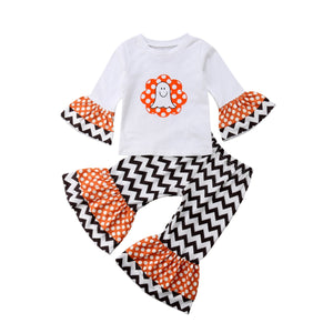 Girls Ghost Butterfly Sleeve T-shirt & Striped Pants Outfit