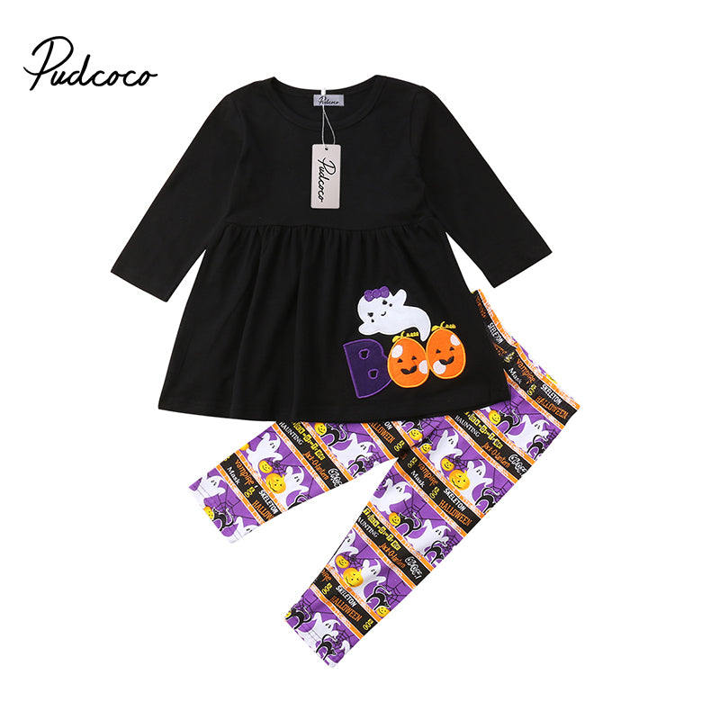 2018 Halloween Toddler Kid Baby Girl Ghost Pumpkin T-shirt Dress+Long Pants Legging Outfit Winter Cotton Clothes Set