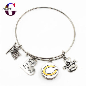 Bears Adjustable I Love Football Expandable Bracelets Bangle