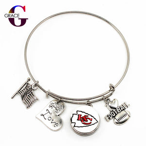 Kansas City Chiefs Team Sports Adjustable I Love Football charm bracelet