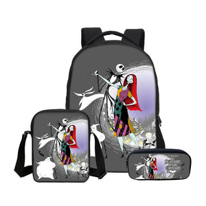 VEEVANV  Nightmare Before Christmas 3D Printing Backpacks 3Pcs/Set Portfolio School Bag