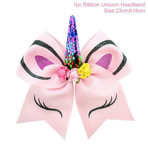 FENGRISE  Unicorn Horn Hairband Cheer Bows For Girl
