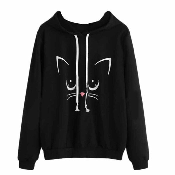 Autumn Winter Women Sweatshirts Hoodies Cute Cat Print Kpop Long Sleeve Sweatshirt Harajuku Hooded Pullover Tops Sudaderas Mujer
