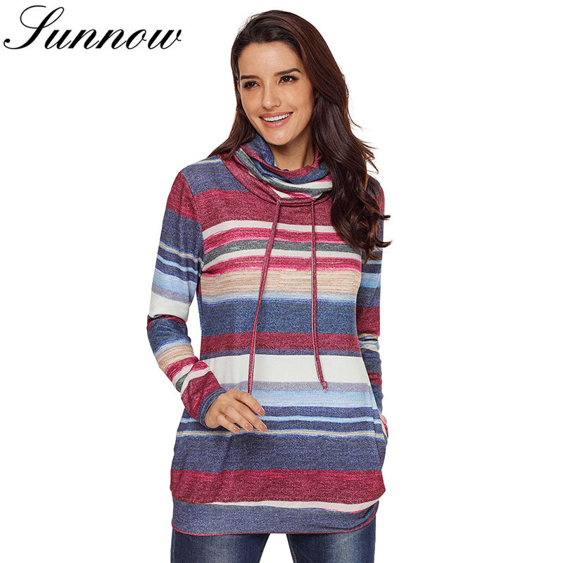 SUNNOW Women Sweatshirt Autumn Long Sleeve Multicolor Striped Pocket Ladies Top Casual Female Pullovers
