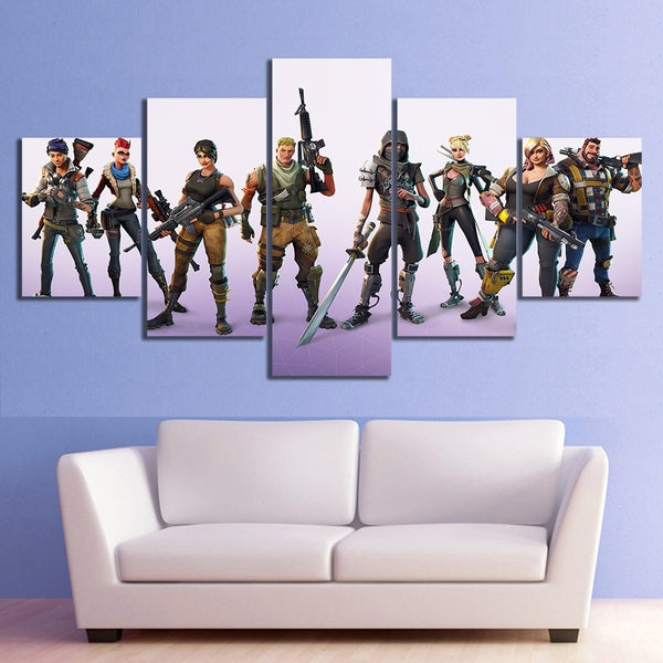 5 Piece Battle Royale Characters Fort Video Game Poster Nite HD Wall Pictures for Living Room Decor