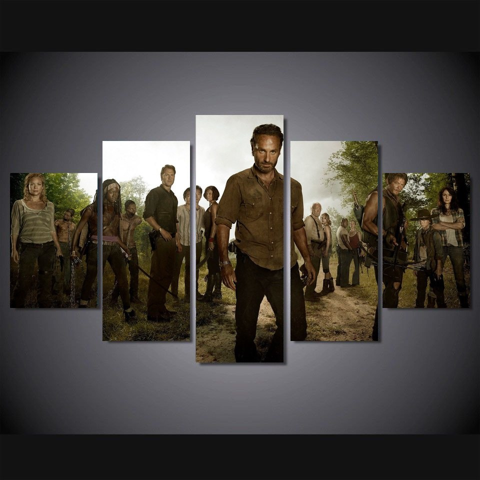 5 Panel The Walking Dead Movie Wall Art Canvas Painting For Living Room No Framed