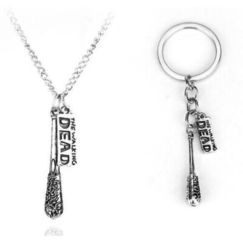 The Walking Dead Cudgel And Letter Necklace & Keychain set