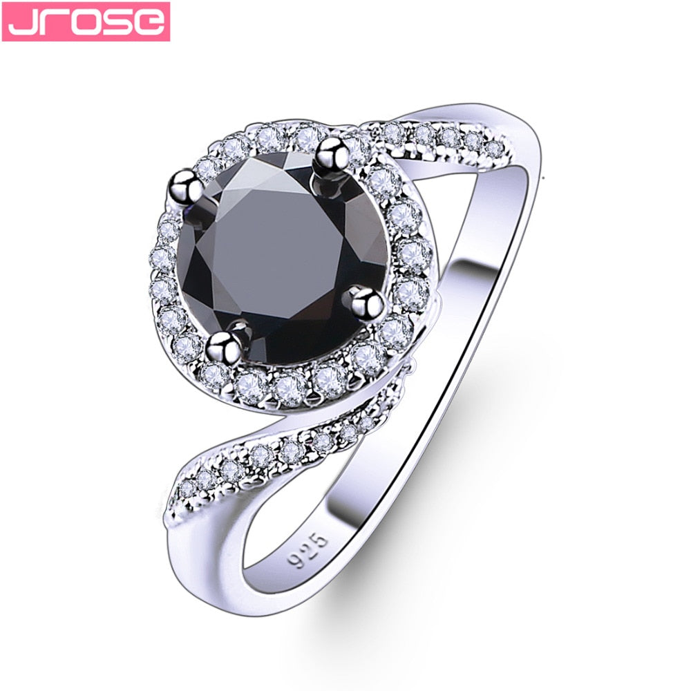 JROSE Fancy DAZZLING Round Cut Black & White Cubic Zirconia Silver Jewelry Fashion Ring Size 6 78 9 10 11 12 13