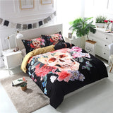 3D Flowers Skull Bedding sets wedding Duvet Cover + pillow case US king size Sugar Skull Bed linen flower bedclothes 3D bed sets