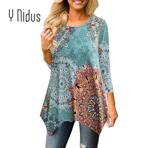 Plus Size Long Sleeve Tunic Tops Irregular Hem Loose Floral Print  S-XXL