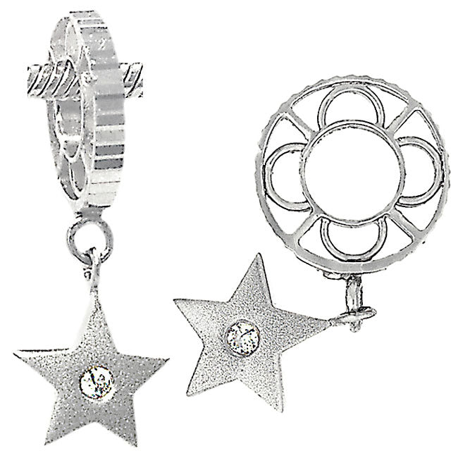 W-8 White Gold Single Diamond Star Dangle