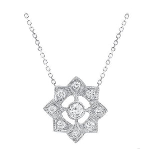 DIAMOND FLORAL NECKLACE IN WHITE GOLD