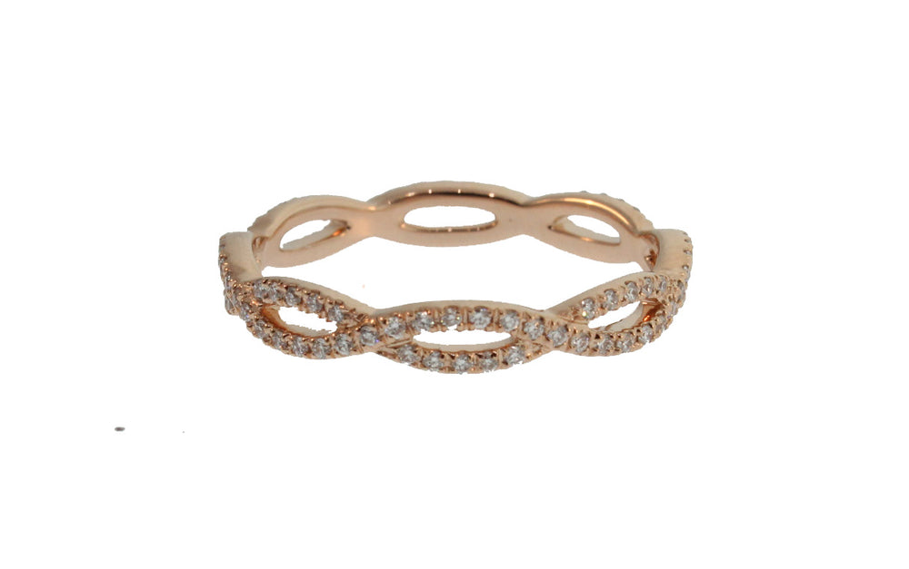 PETITE ROSE GOLD AND DIAMOND TWISTED BAND