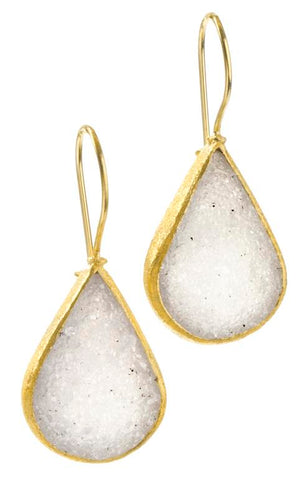 White Druzy Teardrop Earrings