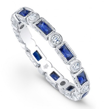 BLUE SAPPHIRE AND WHITE DIAMOND STACKING BAND