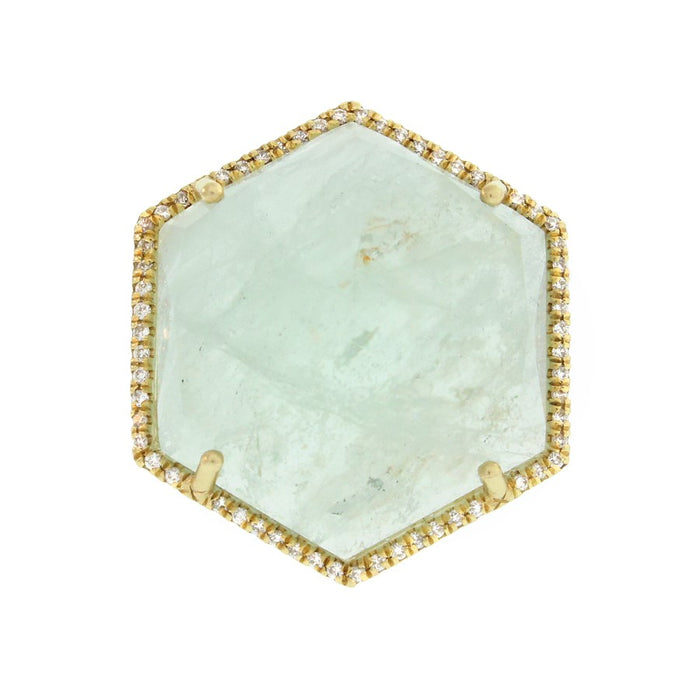 Hexagon Aquamarine Ring