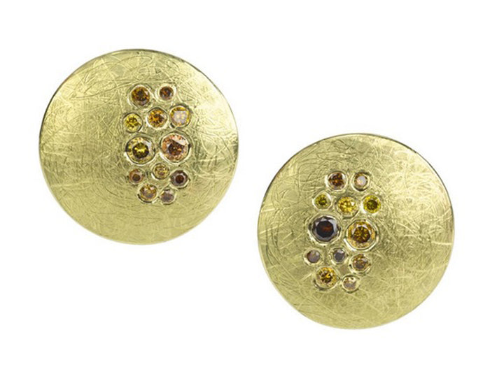 Autumn Brilliant Diamond Gold Disk Earrings