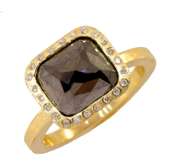 Black Diamond Center Stone Ring