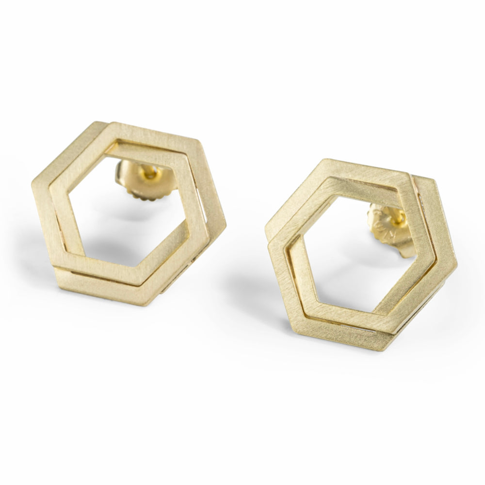 Bee Mine Double Link Hexagon Earrings