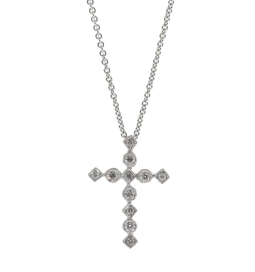 Petite Round and Square Diamond Cross