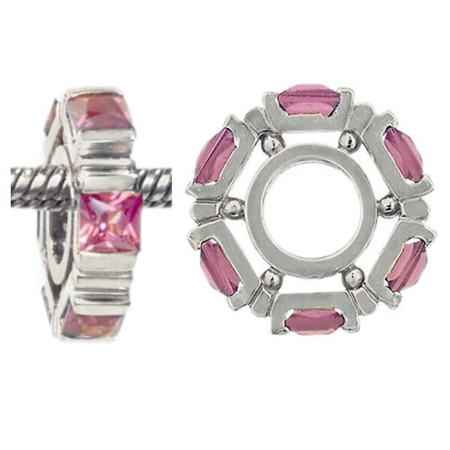 W-24 White Gold Princess Cut Pink Tourmaline Wheel
